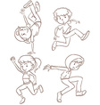 Plain sketches of the hiphop dancers vector image vector image