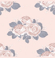 retro floral seamless pattern white roses with vector image