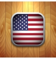 Rounded Square USA Flag Icon on Wood Texture vector image