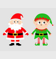 santa claus elf set happy new year merry vector image