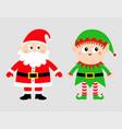 santa claus elf set happy new year merry vector image vector image