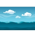 Sea or ocean cartoon landscape with sky and clouds vector image