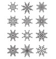 set of white isolated snowflakes vector image
