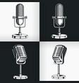silhouette old vintage radio microphone retro vector image vector image