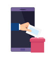 smartphone for vote online isolated icon vector image vector image