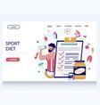 sport diet website landing page design vector image vector image