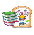 student with book sandwich with egg isolated in vector image