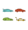 super car icon set color outline style vector image