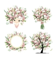Wedding floral set for your design vector image vector image