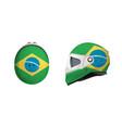 white motorbike classic helmet with brazil flag vector image