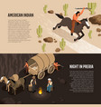 wild west isometric banners vector image vector image