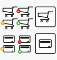 Shopping Cart Credit Card Payment app icons set vector image