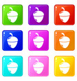 acorn icons set 9 color collection vector image vector image
