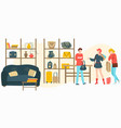 bags baggage store with people customers buy vector image