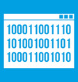 binary code icon white vector image