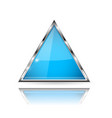 blue glass 3d button with metal frame triangle vector image vector image