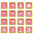 car race icons set pink square vector image vector image
