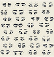 cartoon eyes eyebrows vector image
