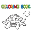 Coloring book of little funny turtle vector image vector image