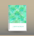 cover of diary or notebook mint green polygonal vector image vector image