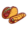 crispy taco and buriito in pita bread isolated vector image vector image