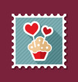 cupcake with two hearts stamp vector image