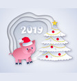 cut paper new year postcard vector image