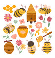 cute bee and honey yellow bees cartoon flying vector image vector image