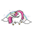 cute little magical pink unicorn pink hair vector image
