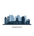 edmonton skyline monochrome silhouette vector image vector image
