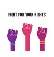 female woman feminism protest hands background vector image vector image