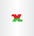 flat letter x green red icon logo vector image vector image