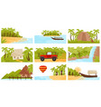 flatv ector set of colorful tropical landscapes vector image