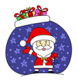 Funny Santa claus with bag full of gifts vector image vector image