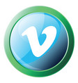 green circle with vimeo sign inside icon on a vector image vector image