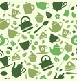 green tea set icons on green background vector image vector image