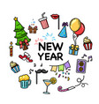 hand drawn set happy new year and merry christmas vector image vector image
