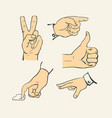 hand finger collection - retro style vector image