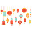 hanging chinese paper lantern vector image vector image