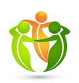 leaf people group support logo vector image vector image