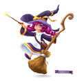 little witch sorceress happy halloween 3d cartoon vector image vector image