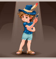 magician child with blue hat vector image vector image