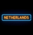 netherlands neon sign bright light signboard vector image vector image