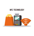 nfc technology dataphone wifi shop gift bag online vector image vector image