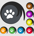 paw icon sign Symbols on eight colored buttons vector image vector image