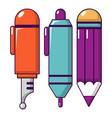 pencil set icon cartoon style vector image vector image