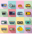 radio music old device icons set flat style vector image vector image