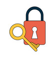 safety lock with key icon image vector image