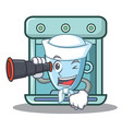sailor with binocular coffee maker character vector image vector image