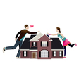 Separation of a couple with house in the middle vector image vector image